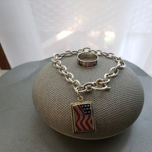 Jewelry - Sterling Silver United State Flag Bracelet & Ring
